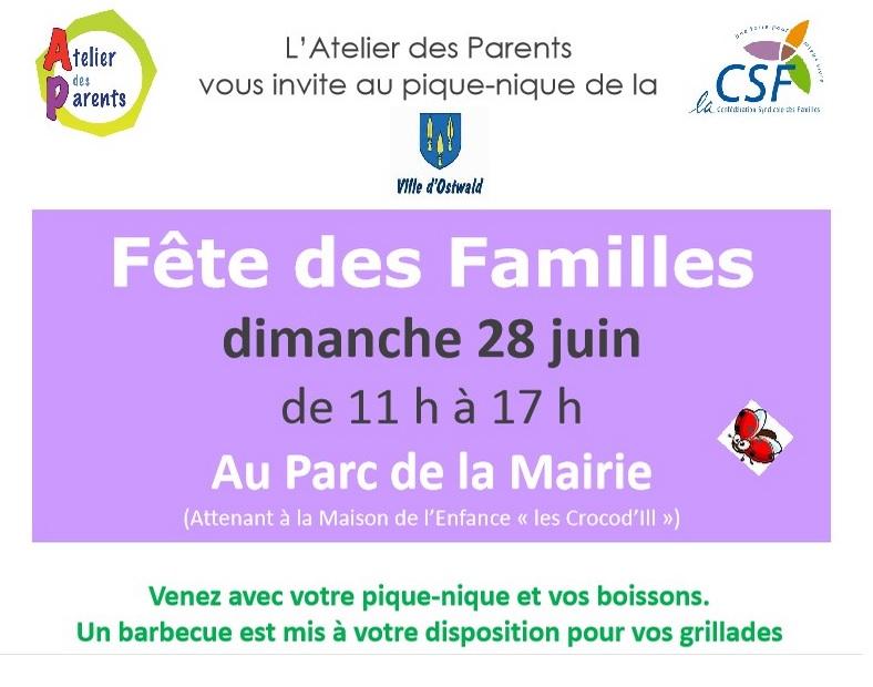 Dimanche 28 juin: pique-nique de la Fête des familles au parc de la Mairie